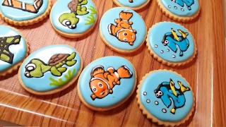 getlinkyoutube.com-تزيين الكوكيز بالايسينج Nemo and friends