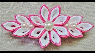 getlinkyoutube.com-DIY kanzashi flower hairclip, kanzashi flower tutorial, how to, kanzashi flores de cinta