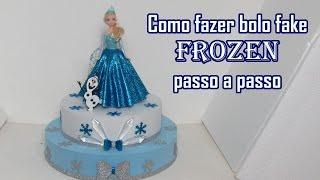 getlinkyoutube.com-Como fazer Bolo Fake Frozen passo a passo
