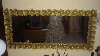 getlinkyoutube.com-DIY-moldura de espelho com flor de caixa de ovo-passo a passo