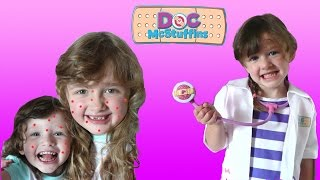 getlinkyoutube.com-Real Life Doc Mcstuffins check up | The Kids have Chicken Pox | The Disney Toy Collector