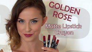 getlinkyoutube.com-Golden Rose Matte Lipstick Crayon Lip Swatches | MissTweed