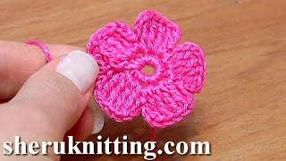 getlinkyoutube.com-Crochet Small Five-Petal Flat Flower Tutorial 28 Part 2 of 2 Come fiori all'uncinetto