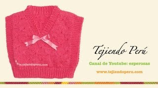 getlinkyoutube.com-Cómo tejer un chaleco recto en dos agujas o palitos para bebés
