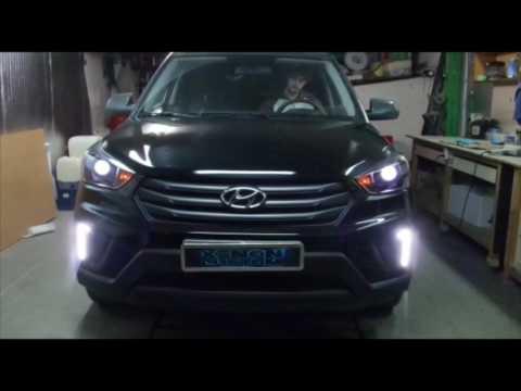 Hyundai Creta установка линз Hella 3r ДХО + поворот