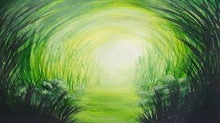 getlinkyoutube.com-Acrylic Painting Grassy Path Monochromatic Painting