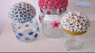 getlinkyoutube.com-DIY Como reciclar un bote con flores de goma eva