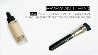 getlinkyoutube.com-REVIEW & DEMO | MAC Studio Waterweight Foundation & MAC 196 Slanted Flat Top Foundation Brush