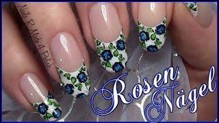 getlinkyoutube.com-Rosen French Stamping Nageldesign einfach selber machen / Blumen Nägel / Flower Nail Art