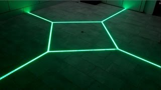 getlinkyoutube.com-how to LED floor tiling system DIY make your floor interactive Aluminum LED Light tilebar profile
