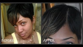 getlinkyoutube.com-How to fake a part on your wig (NON LACE FRONT) Part 2