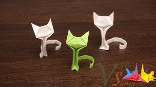 getlinkyoutube.com-Оригами - кошечка (Origami - the cat)