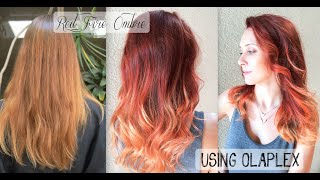getlinkyoutube.com-Red Fire Balayage Ombre Hair using OLAPLEX + SCHWARZKOPF