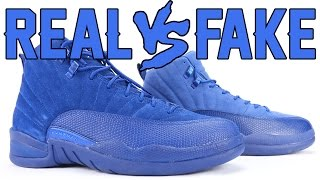 getlinkyoutube.com-Real vs Fake Air Jordan 12 Deep Royal Blue Suede Legit Check