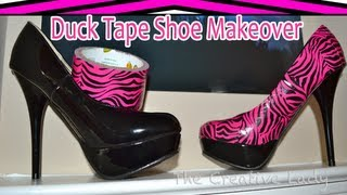 getlinkyoutube.com-DIY: Duck Tape Shoe Makeover: Pink Zebra Duct Tape | The Creative Lady