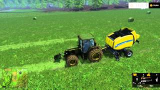 getlinkyoutube.com-farming simulator 2015 mowing and windrowing bailing all in one video