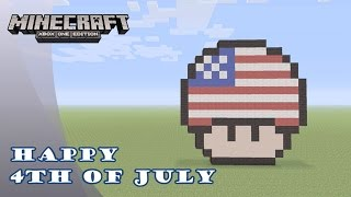 getlinkyoutube.com-Minecraft: Pixel Art Tutorial and Showcase: 4th of July Mario Mushroom (Independence Day)