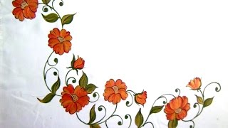 getlinkyoutube.com-Fabric Painting- bed sheet Painting-corner designs