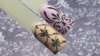 getlinkyoutube.com-Вензеля. Новогодний сверкающий дизайн ногтей! Акриловая пудра и гель краска. olesyages