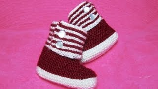 getlinkyoutube.com-How to Knit Boot Style Red and White Baby Booties Part 1 - Right Bootie