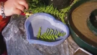 getlinkyoutube.com-Beton giessen - DIY - Blätter als Muster verwenden