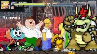 getlinkyoutube.com-AN Mugen Request #322: Homer, Peter, Gumball & Darwin VS Giga Bowser, Mario, Luigi & Bowser