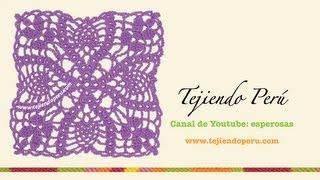 getlinkyoutube.com-Cómo tejer un cuadrado con hojas a crochet