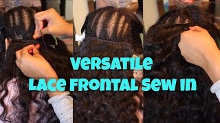 getlinkyoutube.com-🆕 VERSATILE Lace Frontal Sew in Tutorial - No Glue, No Tape, No Hair out