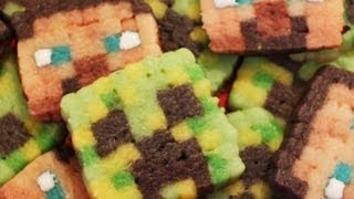 getlinkyoutube.com-Minecraft Creeper and Steve Cookies - Quake N Bake