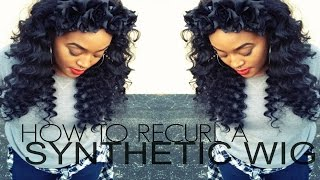"getlinkyoutube.com-How To: ""Bring that wig back to life""- Curl Synthetic Hair"