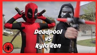 getlinkyoutube.com-Kid Deadpool vs Kylo Ren in Real Life Superhero Battle | STAR WARS 7 Fights | Super Hero Kids Movie