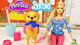 getlinkyoutube.com-Barbie Potty Trainin' Taffy Pet Dog Play Doh Barbie Dolls Toys Review by Disney Cars Toy Club