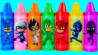 Learn Colors with PJ Masks Crayons Play Doh Ice Cream Peppa Pig Elephant Molds Fun Creative for Kids
