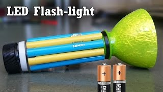 getlinkyoutube.com-How to Make a LED Flashlight using Bottle and Sketch pen at Home