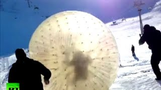 getlinkyoutube.com-Dramatic video: Deadly zorb tragedy at Russian ski resort caught on camera