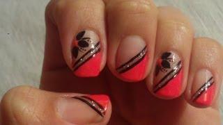 getlinkyoutube.com-Unhas Decoradas Com Rosa e Preto Manual Bela e Simples Nail Art