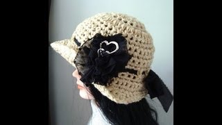 getlinkyoutube.com-How to CROCHET A SUNHAT, brimmed hat, adult size