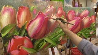 getlinkyoutube.com-Весеннее тюльпаны. Мастер-класс. Tulips. Master class by Oleg Buyko on two canvases.