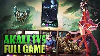AKALI 1v5 FULL GAME - 1 Platinum vs 5 Bronze Players - League of Legends