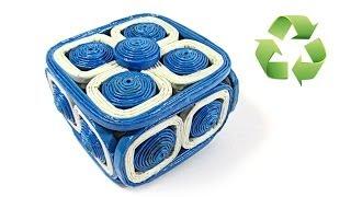 getlinkyoutube.com-Como hacer cajas de papel periódico. Newspaper box.