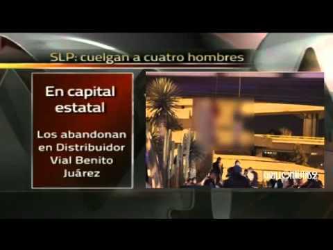 Cuelgan a cuatro hombres ejecutados de un puente en San Luis Potosí.