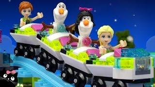 getlinkyoutube.com-Las Princesas Disney Frozen Elsa Olaf van al Parque de Atracciones de LEGO Friends Juguetes Español