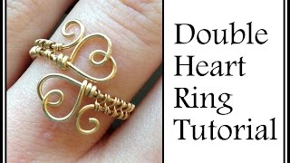 getlinkyoutube.com-Easy Jewelry Tutorial : Double Heart Ring Wire Wrapped