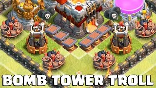 getlinkyoutube.com-MAXED BOMB TOWER TROLL BASE | Clash of Clans | Gemming Maxed Bomb Towers!