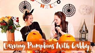 getlinkyoutube.com-Pumpkin Carving with Gabby 2015 | Zoella