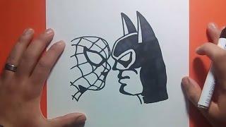 getlinkyoutube.com-Como dibujar a Batman vs Spiderman paso a paso   How to draw Batman vs Spiderman