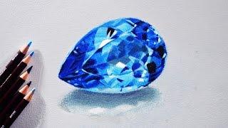 getlinkyoutube.com-How to draw a Blue topaz (Gem stone) Tutorial - Derwent coloursoft pencils.