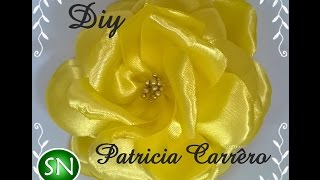 getlinkyoutube.com-Rosa amarela de fita de cetim DIY \ Yellow rose satin ribbon