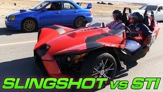 getlinkyoutube.com-Polaris Slingshot vs Subaru WRX STi