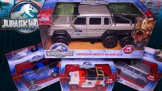 getlinkyoutube.com-Opening 4 Jurassic World VEHICLES! Jeep, Rescue Truck, Mercedes 6x6 and 4x4